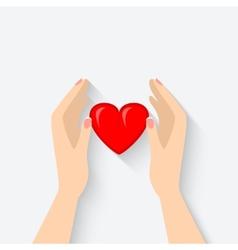 Heart in hands symbol vector