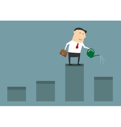 Businessman watering graph for financial growth vector