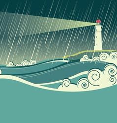 Lighthouse seascape vector