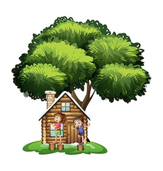 Kids playing outside the house under the tree vector