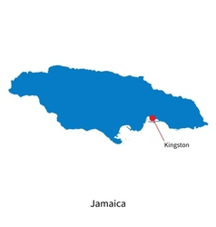 Detailed map of jamaica and capital city kingston vector