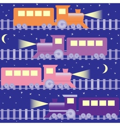 Seamless pattern with night trains vector