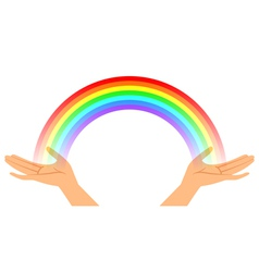 Hands with rainbow vector