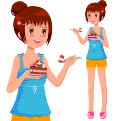 Girl eating cake vector