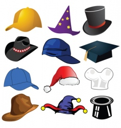 Assorted hats vector
