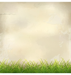 Green grass on plaster wall abstract background vector