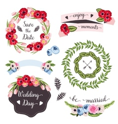 Wedding collection with hand-drawn flowers and vector