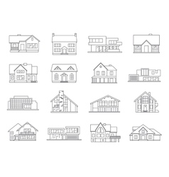 House icons flat set vector