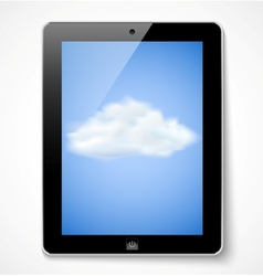Tablet computer with cloud icon vector