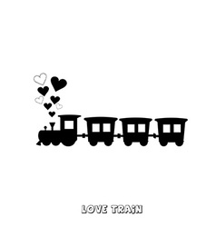 Love train card vector