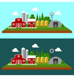 Flat landscape background with farn vector