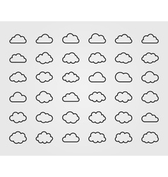 Big set of thirty-six cloud shapes vector