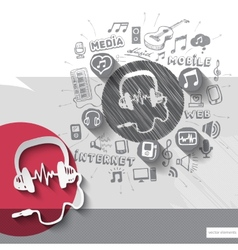 Hand drawn headphones icons with icons background vector