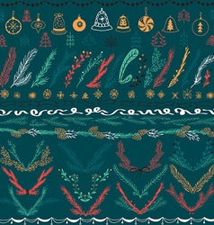 Set of christmas hand drawn floral set design vector