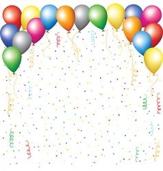 Balloons confetti and serpantine vector