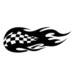 Flaming black and white checkered flag vector