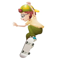 A young man playing with the skateboard vector