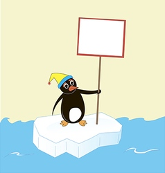 Penguin on an ice floe with a poster and a cap vector