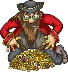 Pirate with gold treasure vector