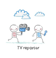 Tv journalists run with a camera and microphone vector