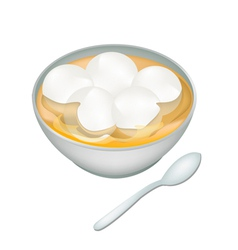 A bowl of sweet dumplings in ginger tea vector