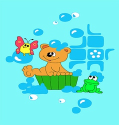 Bear is bathing in basin vector