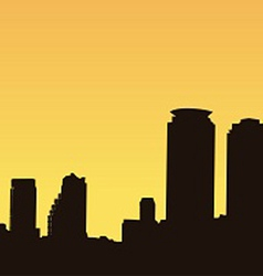 Dark contour bangkok on a yellow background vector