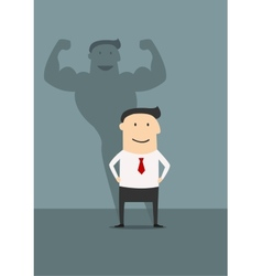 Businessman with powerfull muscular shadow vector