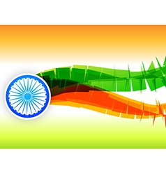 Creative indian flag design made in wave style vector