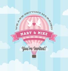 Wedding invitation with balloon vector