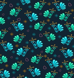 Royal floral birds seamless pattern vector