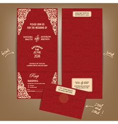 Seal and send wedding invitation card red vector