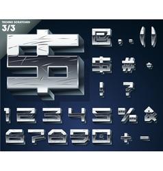 Silver chrome or aluminum 3d alphabet vector