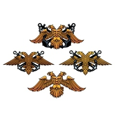 Double headed imperial nautical eagle icons vector