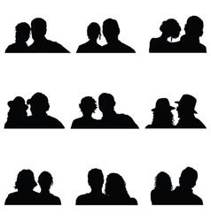 Couple people silhouette vector
