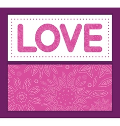Pink abstract flowers texture love text frame vector