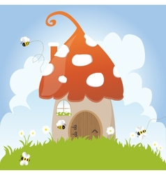 Spring bees house mushroom door fairy tale clouds vector