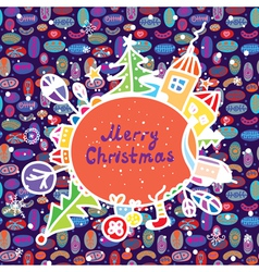 Whimsical christmas card with town vector
