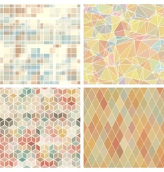 Seamless abstract geometric patterns set vector