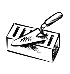 Trowel and brick vector