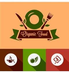 Flat organic food icons vector