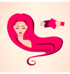 Portrait of young sexy girl with rose hair vector