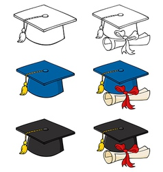 Graduation caps-collection vector