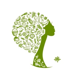 Healthy food concept female head with vegetables vector