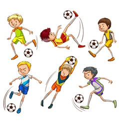 Sketches of the soccer players vector