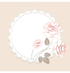 Delicate pink card with roses vector