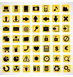 49 icons on a yellow background vector