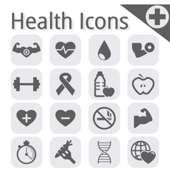Black fitness and health icon vector