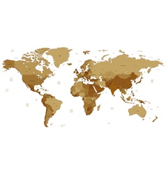 Brown detailed world map vector