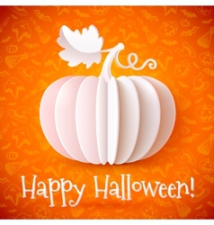 Bright halloween white paper pumpkin vector